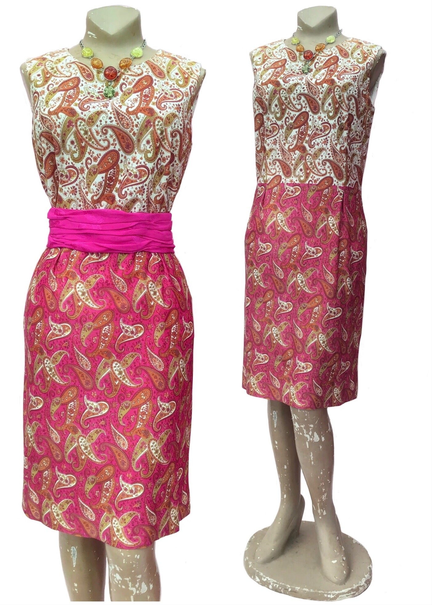 Vintage sixties pink paisley shift dress, mod fashion