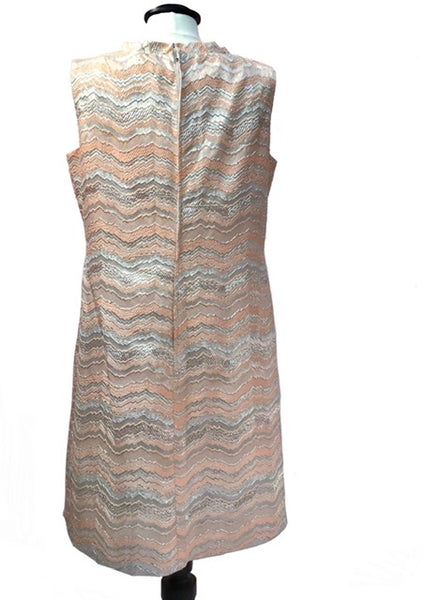 1960s Mod Space Age Silver & Pink Mini Shift Dress