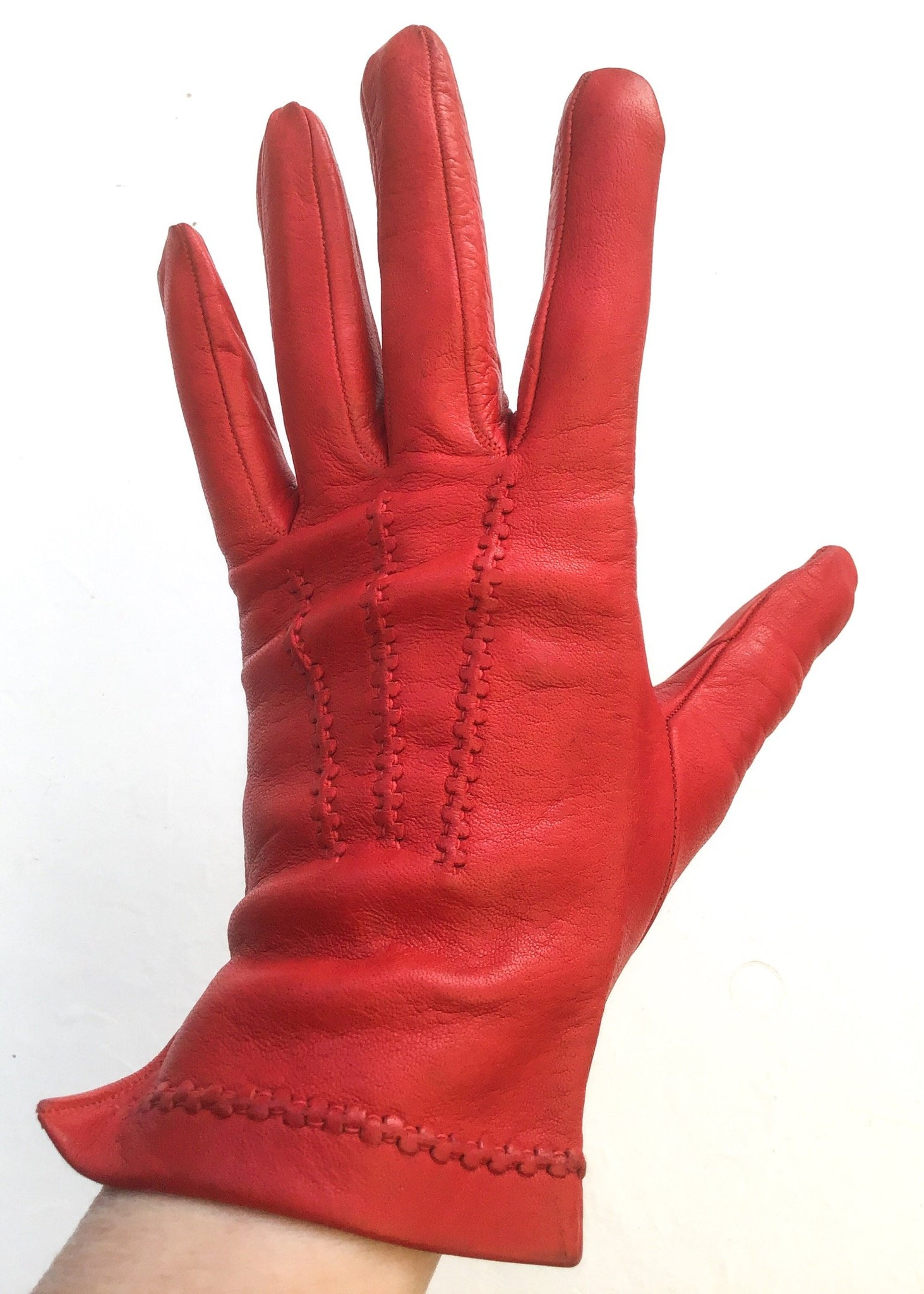 Vintage red leather day gloves for sale