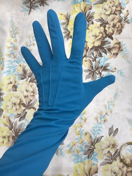 1950s Vintage Peacock Blue Long Evening Opera Gloves • Size 7