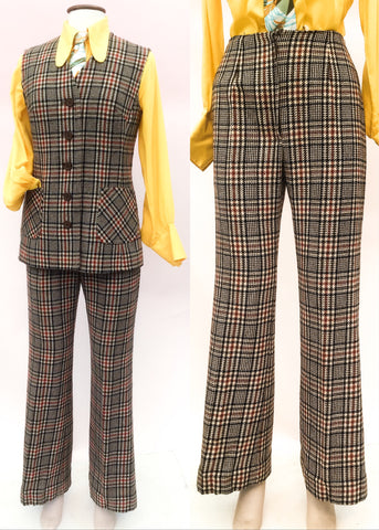 1960s check tweed womens pant suit with gilet and flared trousers.