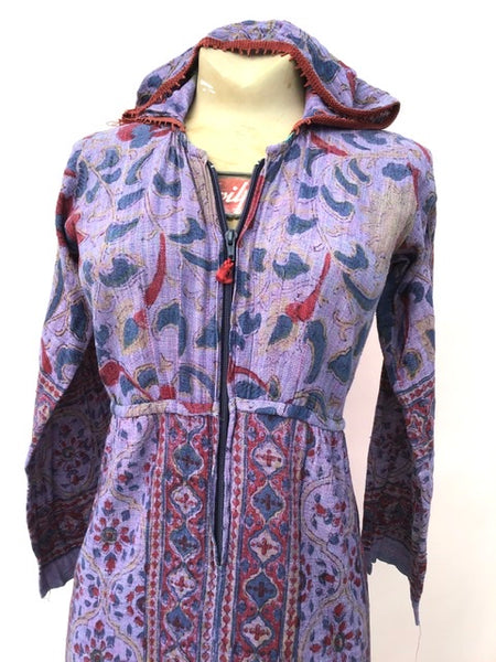 size 8/10 purple cheesecloth vintage hippie dress with hood