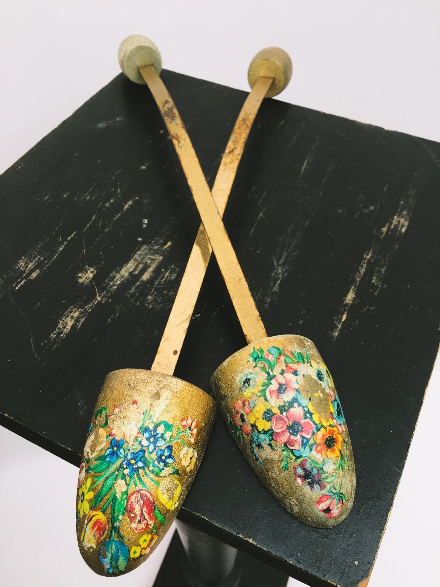 Floral decorated vintage shoe trees, for ballet shoes or decor