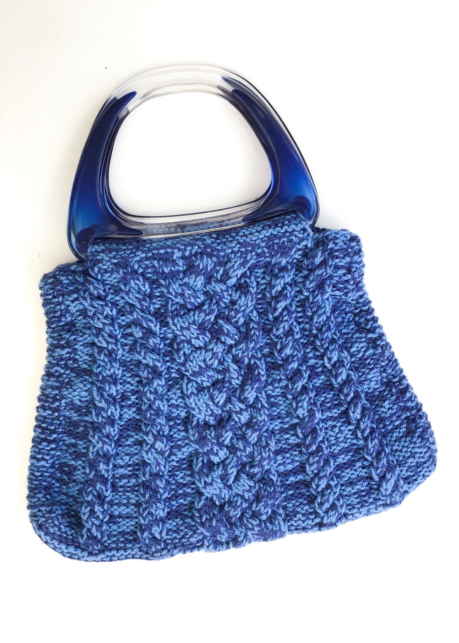 Buy Hand knitted knitting vintage work bag with blue lucite handles