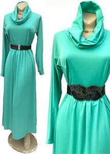 1970s Cool Green Maxi Dress with Cowl Collar Hood