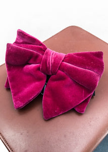 Huge groovy 70s purple pink velvet butterfly bow tie