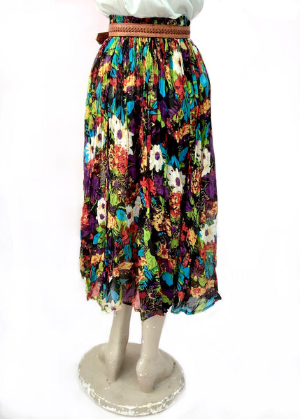 Vintage Multicoloured Gauze Indian Cotton Hippie Skirt