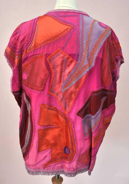 1980s Vintage Pink Silk Patchwork Tunic Top • Artisan Made