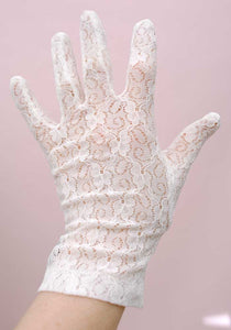 vintage white stretch lace gloves, bridal gloves.