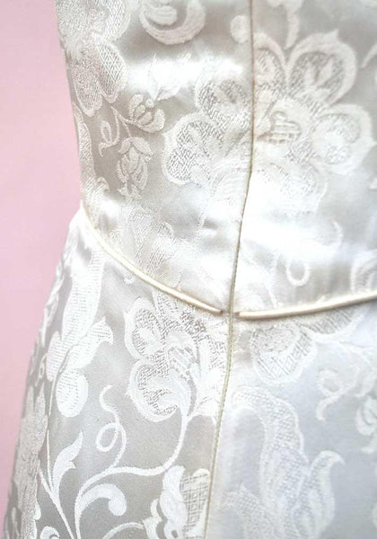1960s Vintage Frances Lee White Damask Ball Gown • Wedding Dress
