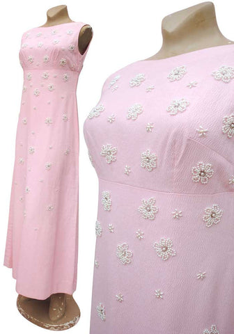 pink vintage maxi evening dress, pretty in pink