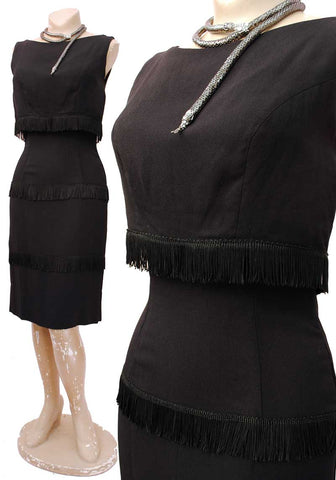 1960s Vintage Black Fringed Wiggle Dress