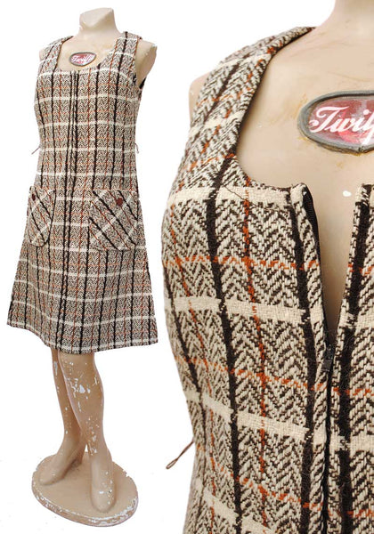 early 60s wool tweed a line zip front sleeveless dress, mod clothing