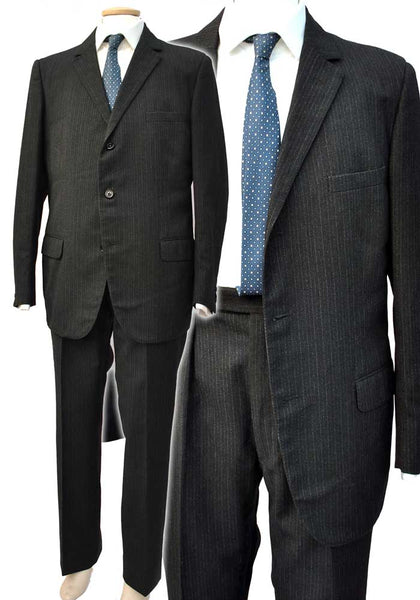 Men's Vintage Black Pinstripe 2 Piece Suit • 41 Chest • Aquascutum