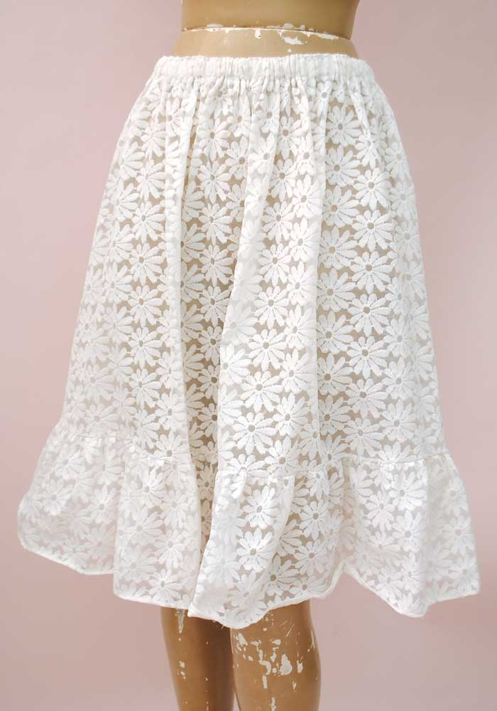 60s sheer frilly petticoat daisies