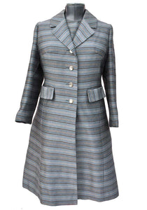 vintage 60s grey mohair mother of the bride dress and matching coat set, dress suit by Brophil.