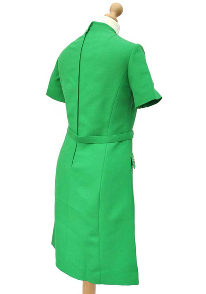 green vintage 60s wool scooter dress, mod dress