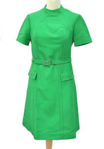 1960s kelly green wool mod dress, short sleeves made by Hucke