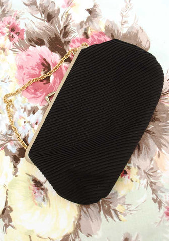 vintage 60s black pleated evening purse with gold chain strap