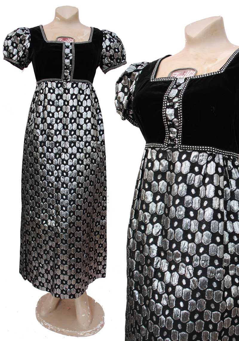 vintage 60s black and silver maxi dress, empire line puffed sleeves, silver textured lame fabric.