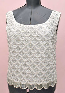 Vintage 60s white and silver beaded, sequin cocktail vest top