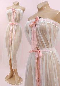 60s sheer nylon peignoir negligee with pink ribbon