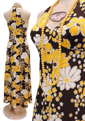 1970s Vintage Yellow Daisy Floral Sleeveless Maxi Dress with Plunging Neckline