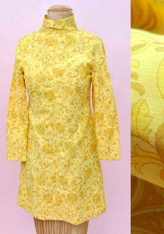 Vintage 60s Girl's Yellow Psychedelic Mini Dress • Mod Dress • Velvet Waistcoat