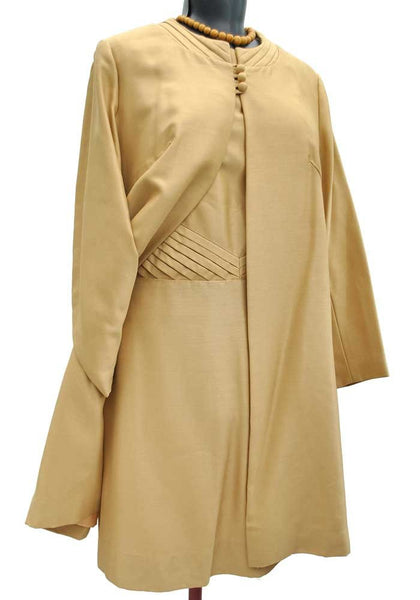 vintage 60s gold mohair silk shift dress with matching jacket
