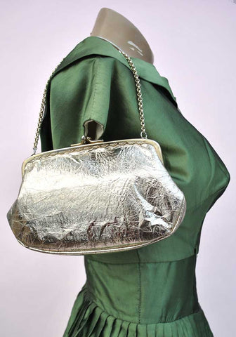 vintage 60s rose gold foil evening purse, disco bag