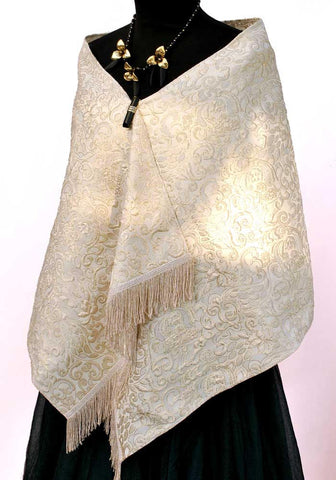 60s vintage gold textured evening scarf
