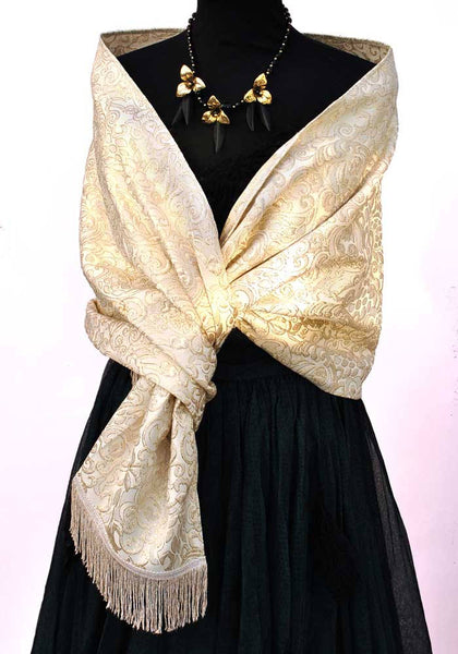 1960s Vintage Cream Gold Textured Evening Scarf Stole with Tassel Fringe