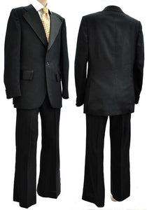 60s vintage dinner suit tuxedo, flared trousers, midnight blue