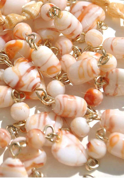 60s hippie beads necklace with swirl peach beads