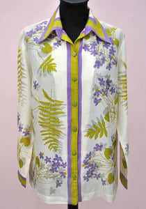 vintage vera neuman silk blouse, lilac and fern green