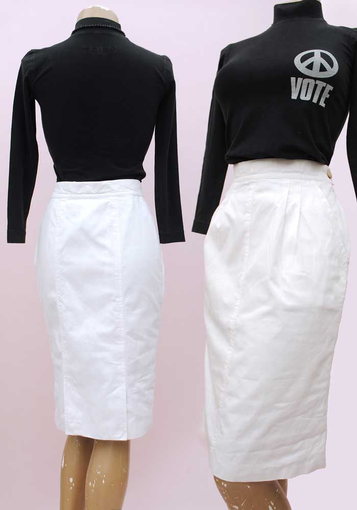White pencil skirt with pockets, vintage 1980s fashion