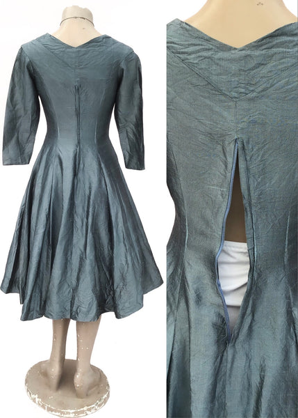 80s Silver Grey Raw Silk Fit and Flare Cocktail Dress