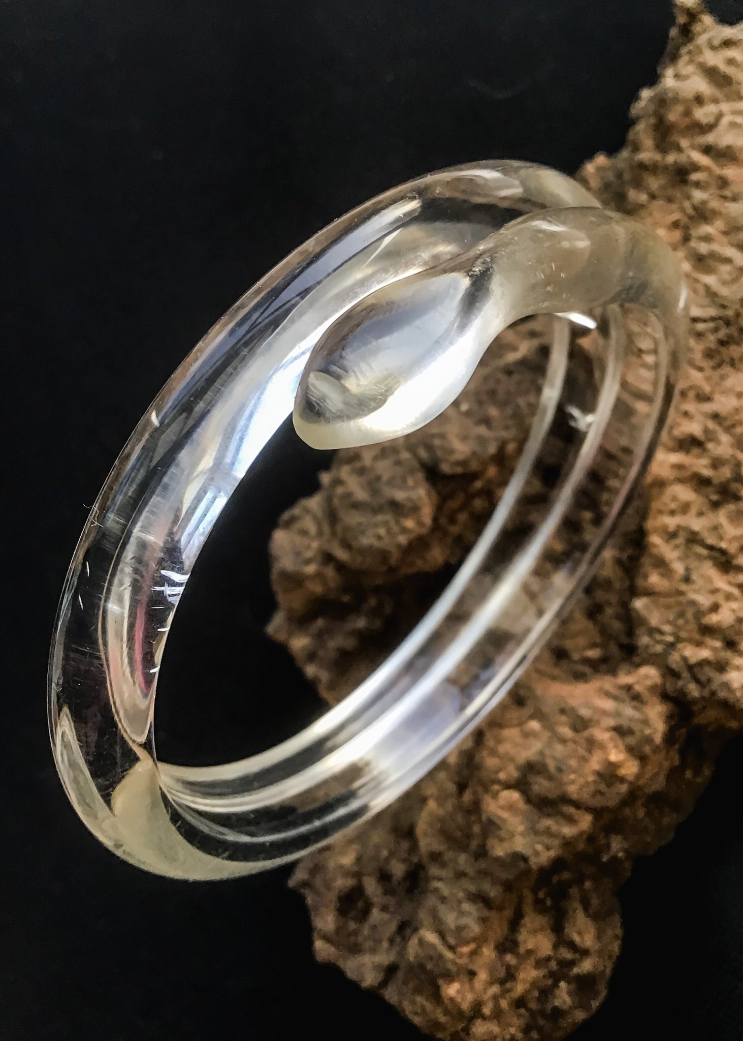1930s Deco Lucite Coiled Snake Bangle • Serpent Bracelet