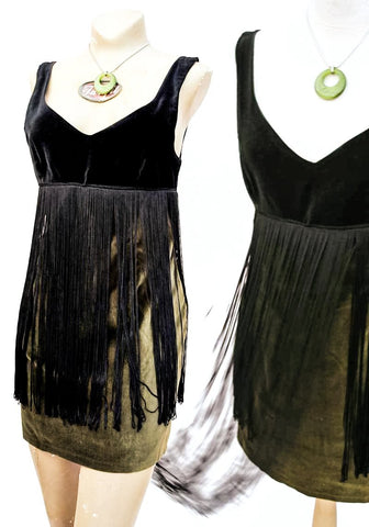 black and olive green velvet fringed minidress, 60s go-go dancer style by miss selfridge