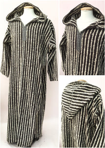 Moroccan traditional striped wool djellaba hooded robe
