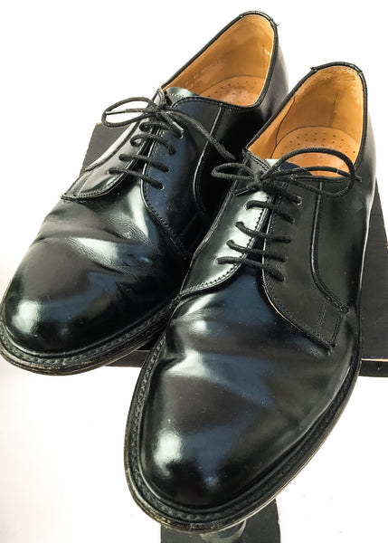 Buy a lovely pair of mens vintage black oxford lace up shoes by Loake.