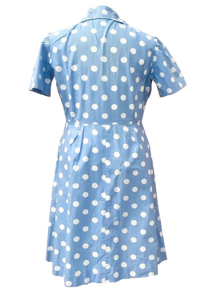 1940s Vintage Handmade Baby Blue Cotton Polkadot Summer Dress