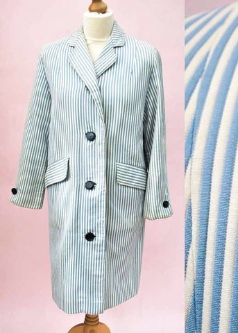 Blue and white striped mod coat, vintage 60s mod coat
