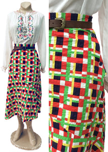 1970s Vintage Colourful Seersucker Skirt by Rob Roy