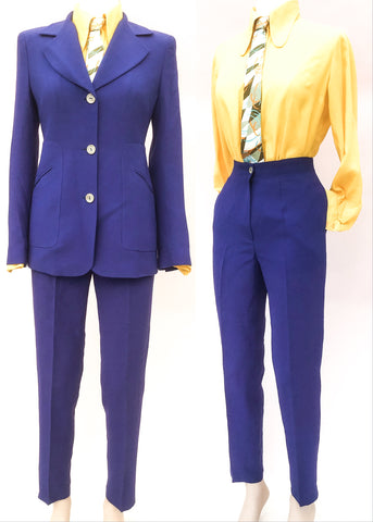 Christian lacroix trouser suit in periwinkle blue, perfect spring colours.