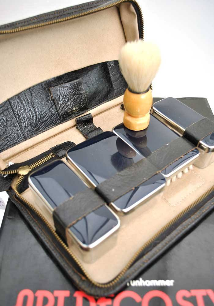 Vintage deco travel shaving grooming kit in black leather case