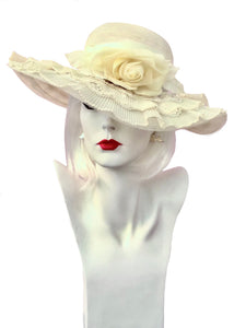 Vintage primrose yellow frilly floppy summer hat, with pastel pale yellow rose and layers of creamy lace ruffles, perfect for a walk in the park