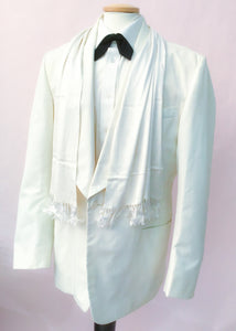 Buy 44 chest white canvas, shawl lapel dinner jacket, tuxedo.