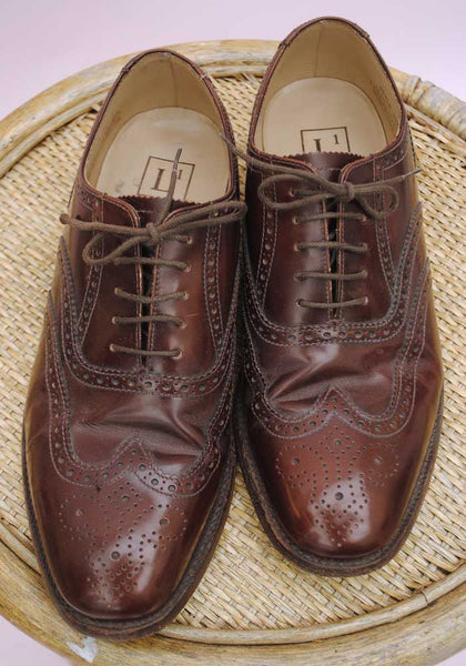 Men's Brown Leather Oxford Brogue Loake Shoes • Size UK 7