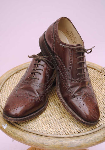 size 7 brown loake brogue shoes for men • used vintage
